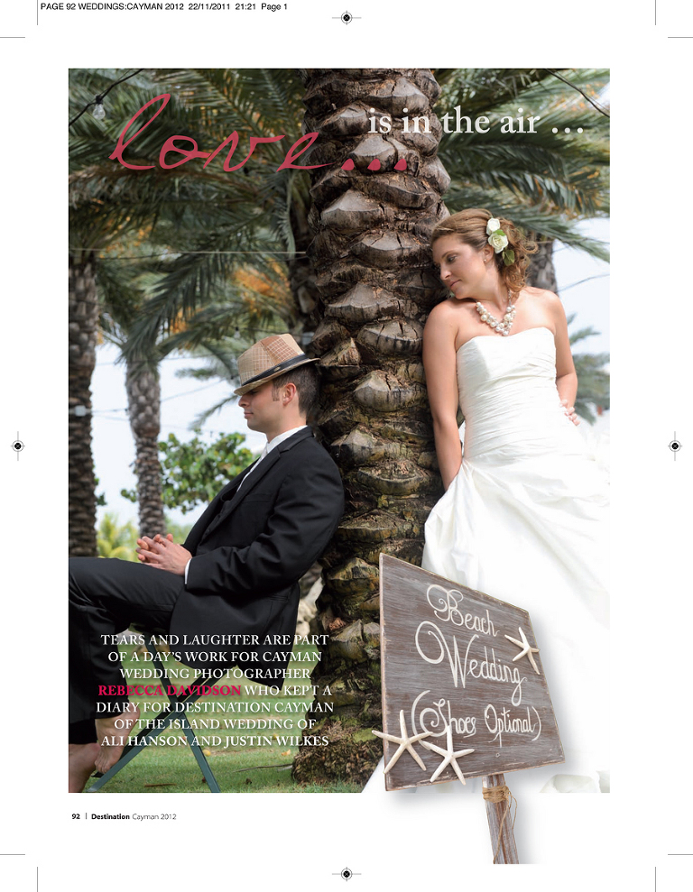 Destination Cayman Magazine Features Wedding Rebecca Davidson