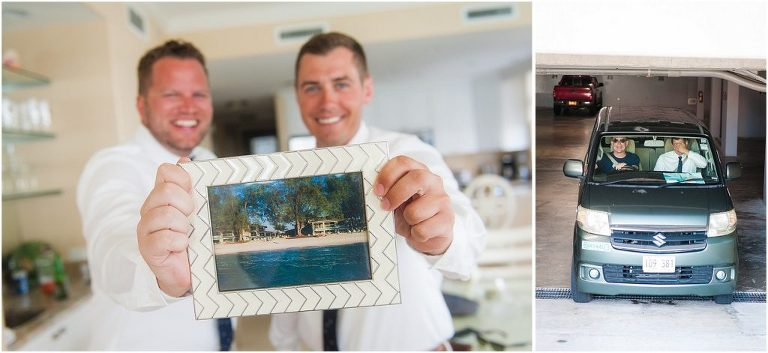 groomsmen holding up picture of old condo
