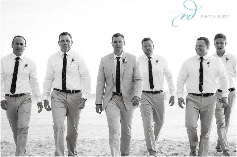 cool grromsmen-in-khaki at beach wedding in cayman