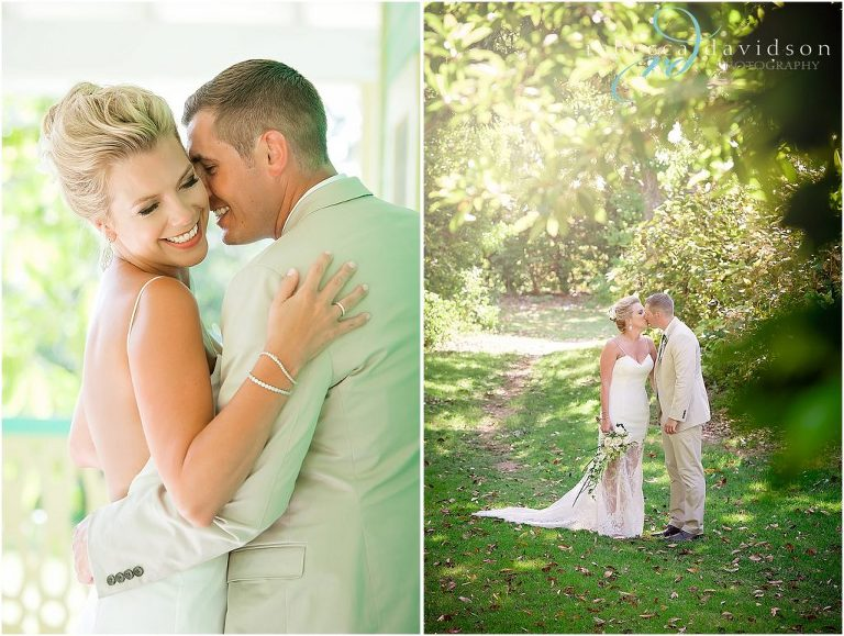 green house bride and groom hugging
