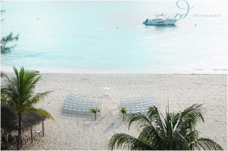 setup at beachcomber for this classy beach wedding