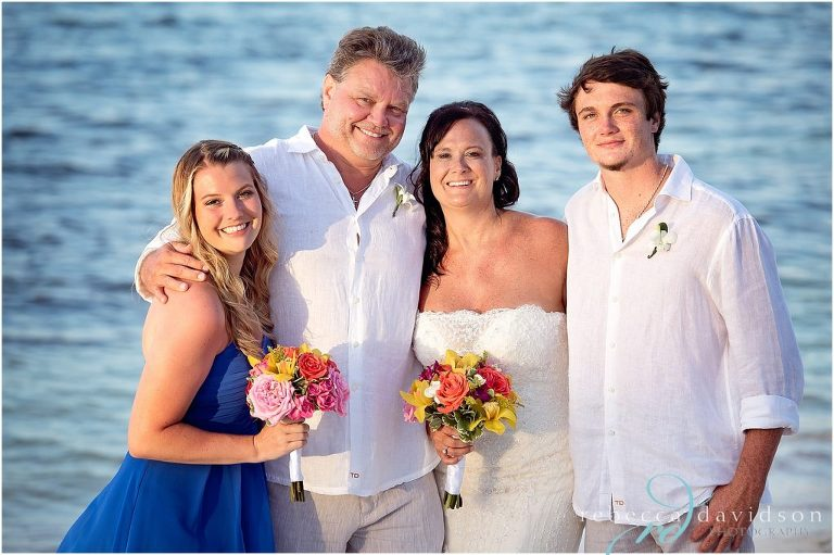 family in blue and white themed colours