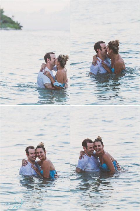 fun shots of couple playing in water