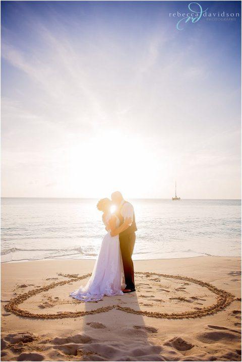sunflare heart in beach