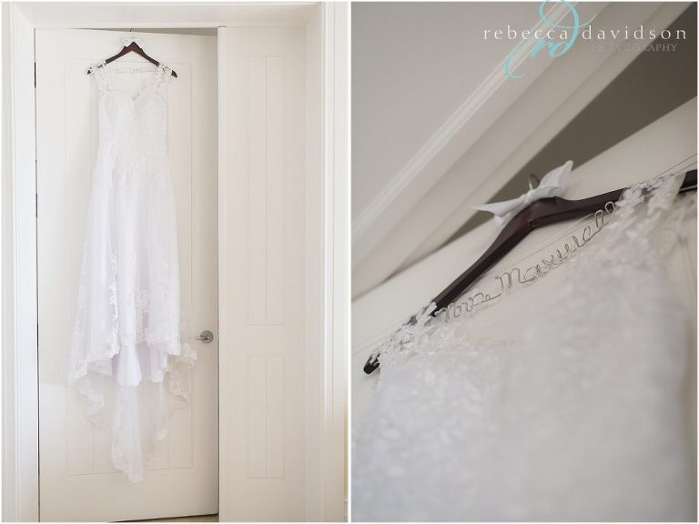 dress hanging from window and personalized hangers