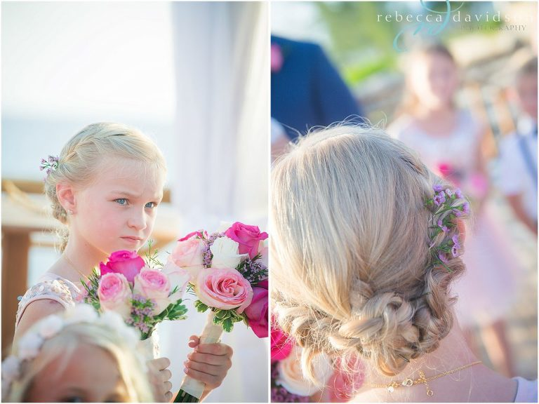 flower girls hair and petals in hair