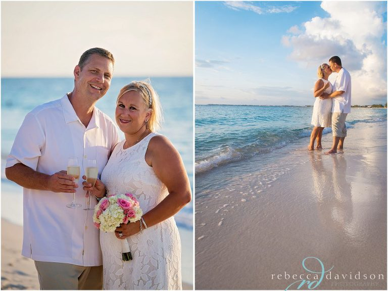 couple are married all in white on beach