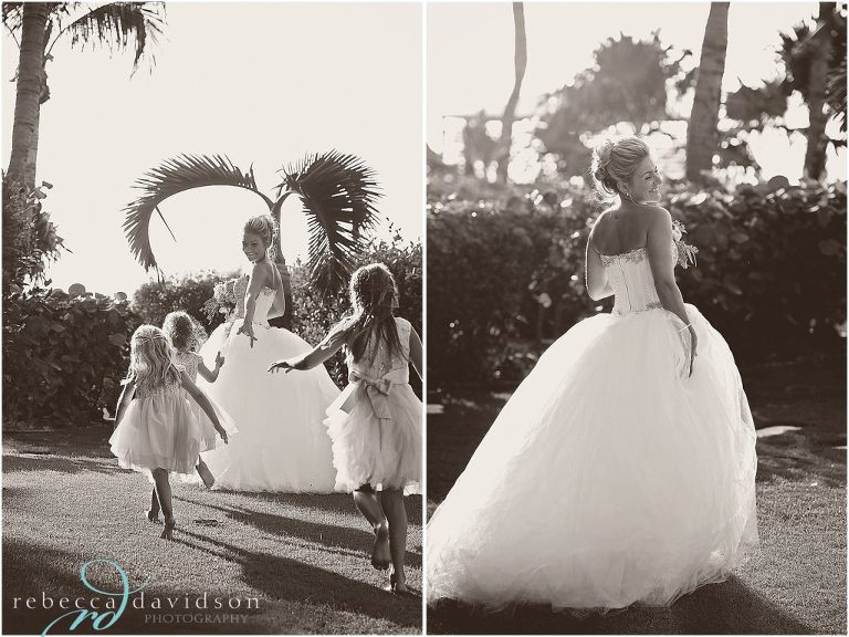 little flower girls run after bride