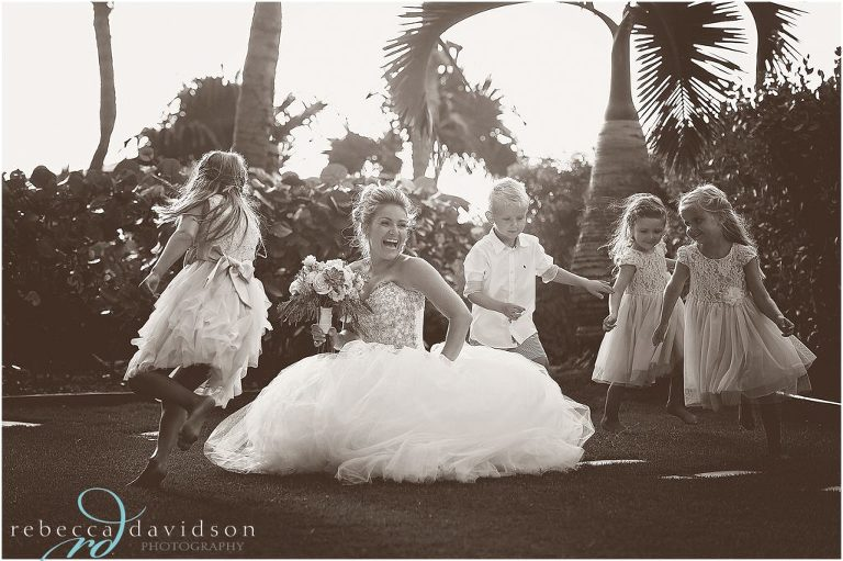 fun black and white of bridesmaids