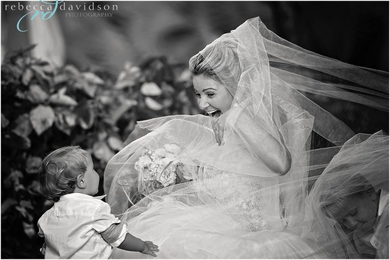 beautiful black and white of bride with veil