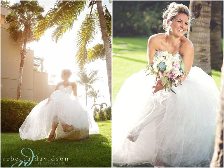 beautiful bride dress under coconut tree