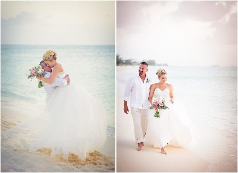 gorgeous bride and groom walking on beach