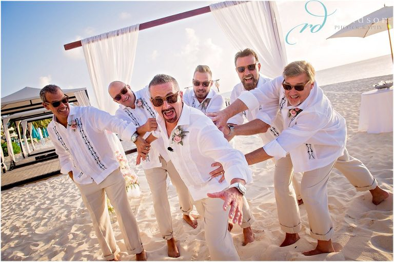 groomsmen on beach