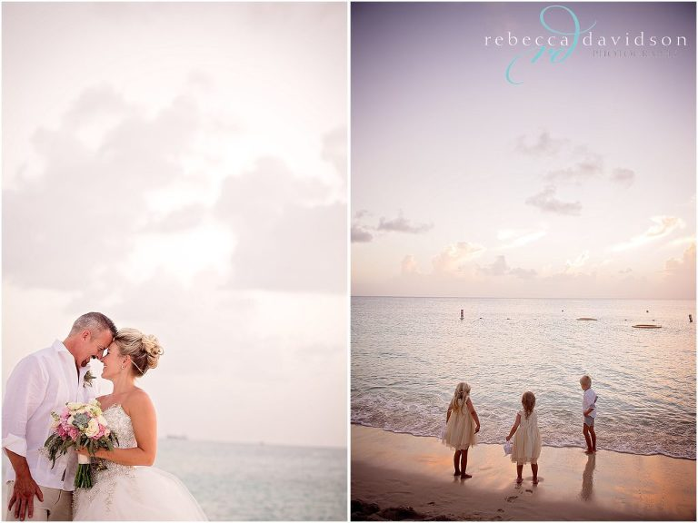 romantic shots of wedding on beach