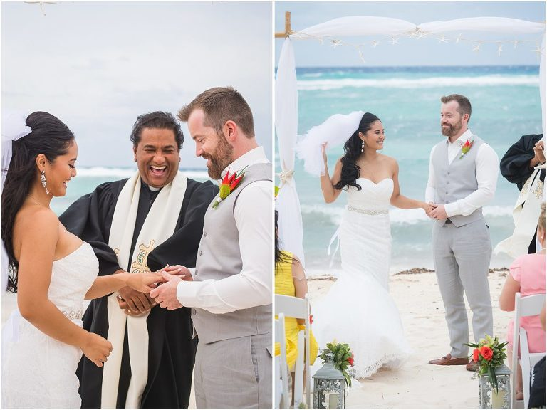 groom in all grey ceremony on beach