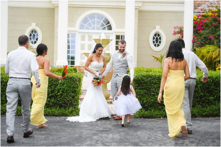 bridal party in all yellow