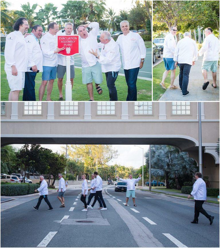 head chefs walking across road